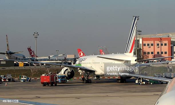An airbus belongs to the Air France landed off to the Istanbul Ataturk Airport after a passenger felt unwell in Istanbul November 19 2015