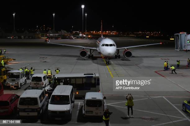 An airbus of German airline Air Berlin arrives at FranzJosefStrauss airport in Munich southern Germany before heading for Berlin Tegel on October 27...