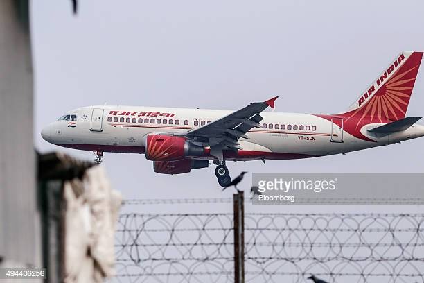 An Airbus SAS A319 aircraft operated by Air India Ltd approaches to land at Chhatrapati Shivaji International Airport in Mumbai India on Monday Oct...