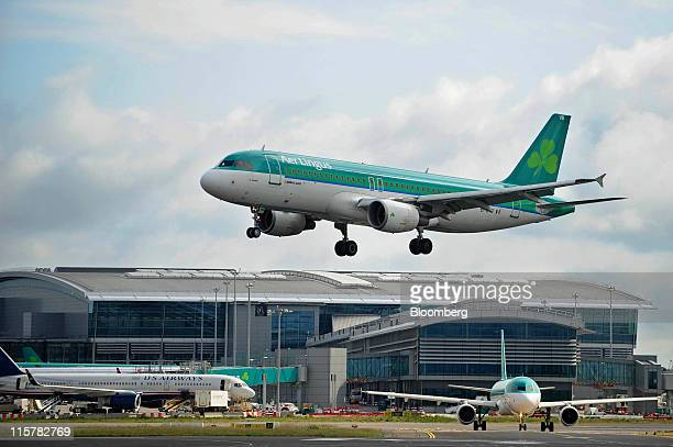 An Airbus SAS A320 aircraft operated by Aer Lingus Group Plc prepares to land at Dublin Airport in Dublin Ireland on Thursday June 9 2011 Aer Lingus...