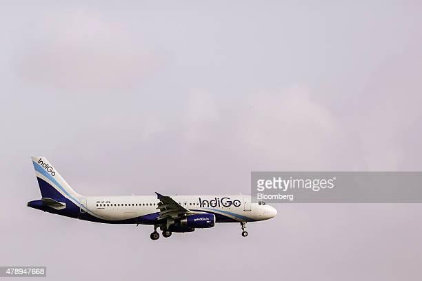 An Airbus SAS A320 aircraft operated by IndiGo approaches to land at Chhatrapati Shivaji International Airport in Mumbai India on Saturday June 27...