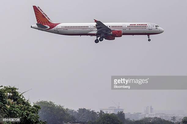An Airbus SAS A321 aircraft operated by Air India Ltd approaches to land at Chhatrapati Shivaji International Airport in Mumbai India on Monday Oct...