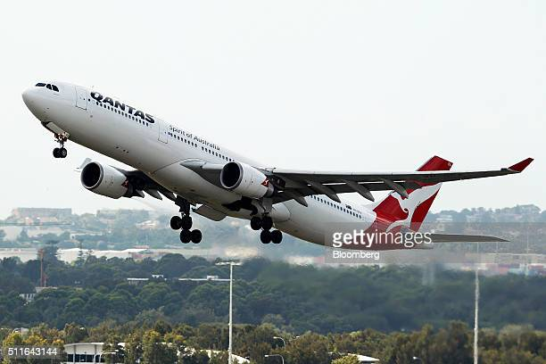 An Airbus SAS A330300 aircraft operated by Qantas Airways Ltd takes off from Sydney Airport in Sydney Australia on Monday Feb 22 2016 Qantas Airways...