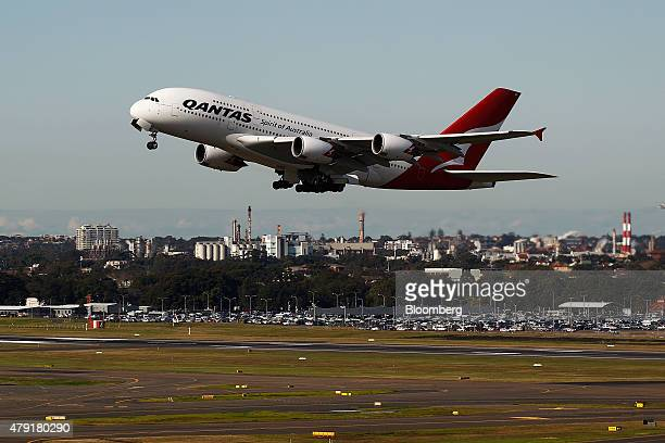 An Airbus SAS A380 aircraft operated by Qantas Airways Ltd takes off at Sydney Airport in Sydney Australia on Monday June 22 2015 Australia's central...