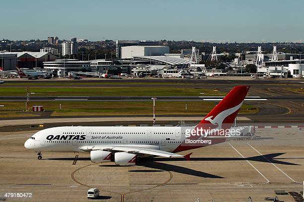 An Airbus SAS A380 aircraft operated by Qantas Airways Ltd taxis at Sydney Airport in Sydney Australia on Monday June 22 2015 Australia's central...