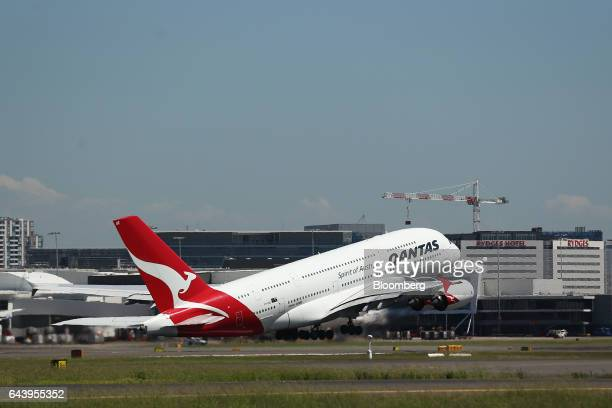 An Airbus SE A380 aircraft operated by Qantas Airways Ltd takes off from Sydney Airport in Sydney Australia on Thursday Feb 23 2017 Qantas' firsthalf...