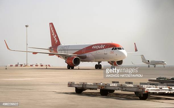 An aircraft from carrier easyJet is seen at Larnaca airport in the Mediterranean Island of Cyprus on November 8 2015 Eleven British aircraft were on...