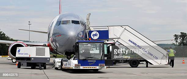 An aircraft from the budget airline Jet2 com sits on the tarmac at the John Paul II International Airport Krakow Balice Ltd in Krakow Poland on...