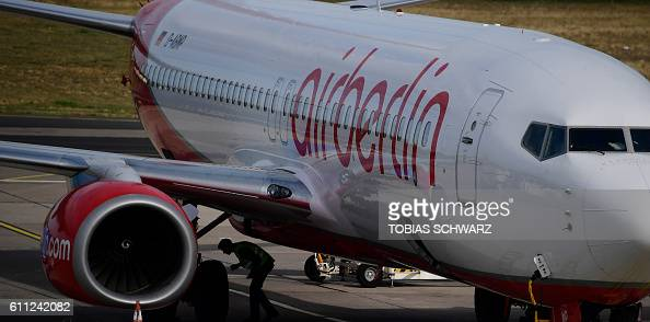 An aircraft of German airline Air Berlin stands on the tarmac at the Tegel airport in Berlin on September 29 2016 Struggling Air Berlin Germany's...