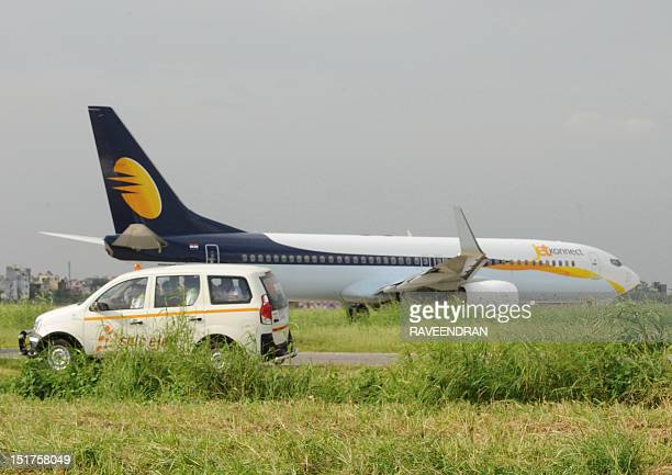 An aircraft of Indian airline Jet Airways taxis after landing at Indira Gandhi International Airport in New Delhi on September 8 2012 AFP...