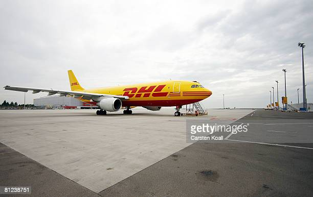 An aircraft of the transportation company DHL is seen at the airport LeipzigHalle on May 26 2008 in Leipzig Germany DHL Express opened a new European...