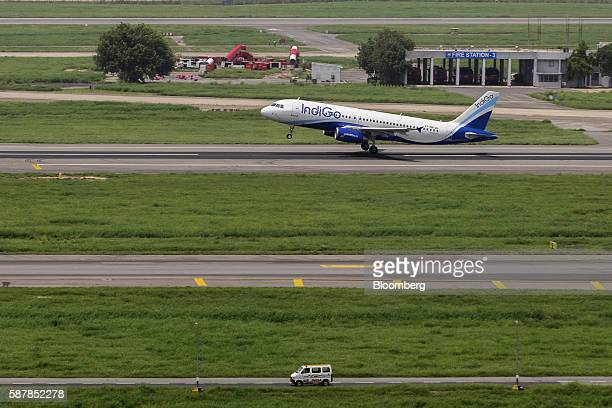 An aircraft operated by IndiGo a unit of Interglobe Enterprises Ltd is seen from a control tower as it takes off at Indira Gandhi International...