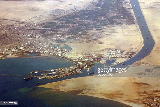An airial view taken 31 December 2007 shows the southern entrance of Egypt's Suez Canal Transit fees for ships using the Suez Canal will increase in...
