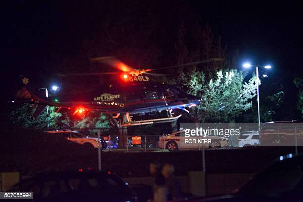 An AirLife medical transport helicopter liftsoff from St Charles Medical Center in BendOregon on January 26 2016 en route to Burns Oregon One person...