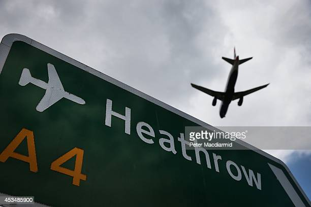 An airliner comes in to land at Heathrow Airport on August 11 2014 in London England Heathrow is the busiest airport in the United Kingdom and the...