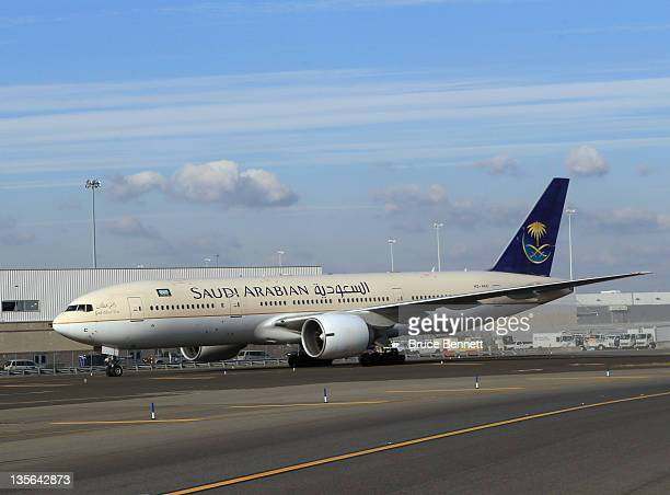 An airplane belonging to Saudi Arabian airlines waits at the gate at JFK airport as photographed on November 30 2011 in New York City