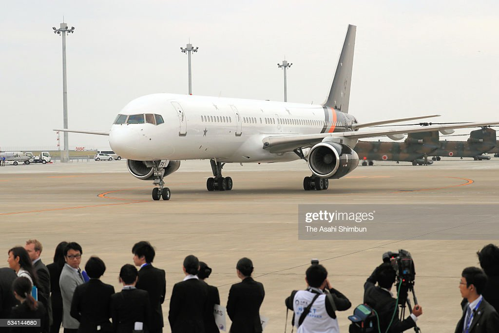 An airplane carrying British Prime Minister David Cameron taxis at the Centrair International Airport on May 25, 2016 in Tokoname, Aichi, Japan. The Group of Seven summit takes place on May 26 and 27 to discuss key global issues such as global economy and anti terrorism measures.