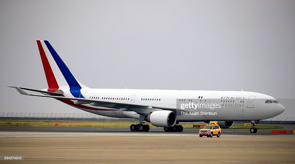 An airplane carrying French President Francios Hollande taxis at the Centrair International Airport ahead of the Group of Seven summit on May 25 2016...