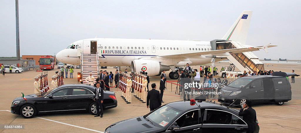 An airplane carrying Italian Prime Minister Matteo Renzi is seen at the Centrair International Airport ahead of the Group of Seven summit on May 25...