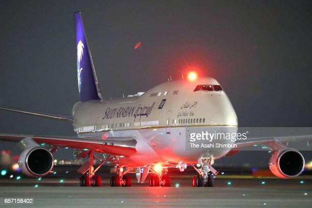 An airplane for King Salman bin Abdulaziz Al Saud of Saudi Arabia is seen on arrival at Haneda International Airport on March 12 2017 in Tokyo Japan...