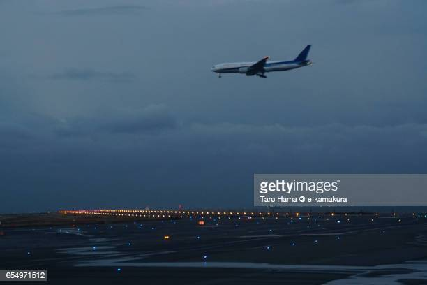 An airplane landing on Tokyo International Airport
