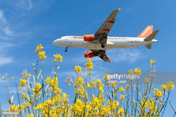 An airplane of the British airline Easyjet prepares to land to Barcelona's airport on June 6 2016 / AFP / JOSEP LAGO