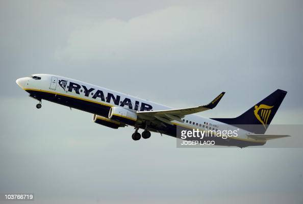 An airplane of the Irish lowcost airline Ryanair takes off from Barcelona's airport on September 01 2010 Irish lowcost airline Ryanair said it had...