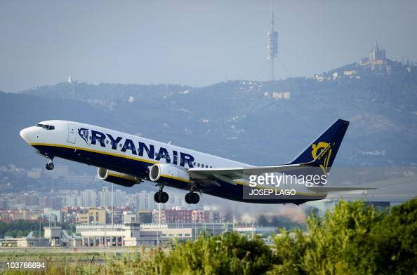 An airplane of the Irish lowcost airline Ryanair takes off from the T2 terminal of Barcelona's airport on September 01 2010 Irish lowcost airline...