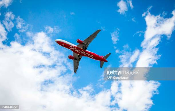 An airplane operated by German airline 'air berlin' comes in for landing at Tegel airport in Berlin on September 13 2017 The airline air berlin in...