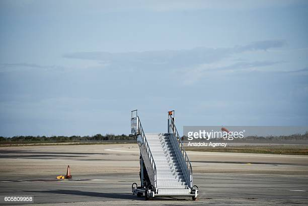 An airplane stairway is seen at the Santiago Marino airport to receive the representatives of the different countries arriving for the nonaligned...