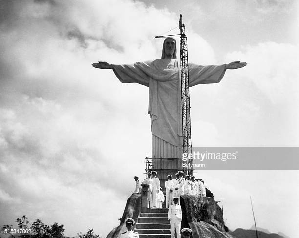 An airplane view of the great religious shrine on the crest of the Corcovado new Rio De Janerio and placed some 2100 feet above sea level The statue...