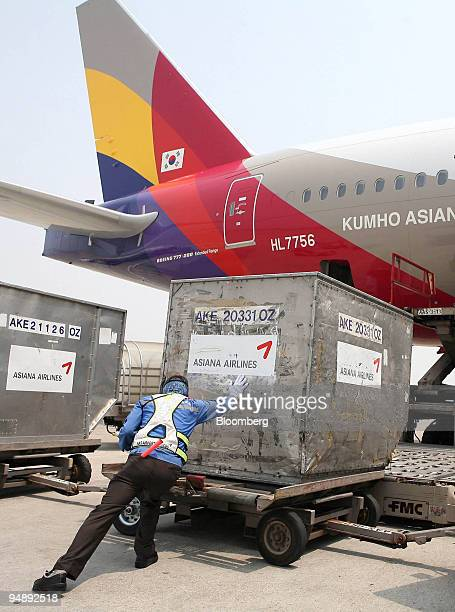 An airport ground staff member loads cargo onto an Asiana Airlines Inc passenger jet at Incheon Airport Incheon South Korea on Thursday May 22 2008...