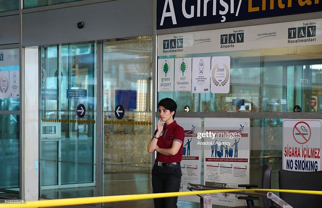 An airport security member is seen at the Ataturk International Airport after the air traffic returned to normal following yesterday's terror attack in Istanbul, Turkey on June 29, 2016. At least 36 victims and three suicide bombers were killed while scores of others were injured in a terror attack on Istanbuls Ataturk International Airport.