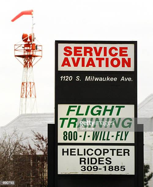 An airport windsock identifies wind direction January 7 2002 at Palwaukee Municipal Airport in Wheeling IL Flight schools say spotting dangerous...
