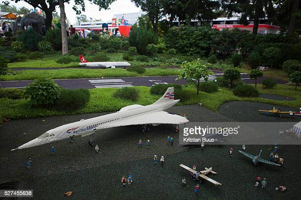 An airport with a British Airways Concorde plane amde out of Lego in Legoland Denmark