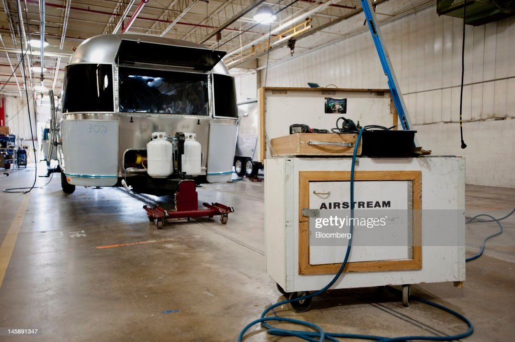 An Airstream Inc. trailer sits in the final assembly area at the company's manufacturing facility in Jackson Center, Ohio, U.S., on Wednesday, June 6, 2012. The U.S. Federal Reserve is scheduled to release industrial production data on June 15. Photographer: Ty Wright/Bloomberg via Getty Images