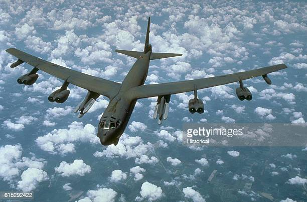 An airtoair front view of a B52G Stratofortress aircraft from the 416th Bombardment Wing armed with AGM86B airlaunched cruise missiles 1988