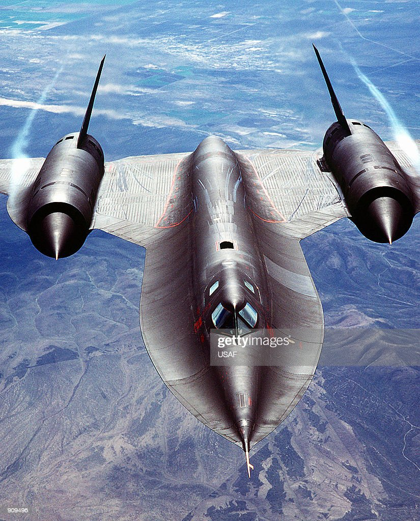 An airtoair front view of an SR71A strategic reconnaissance aircraft The SR71 is unofficially known as the 'Blackbird'
