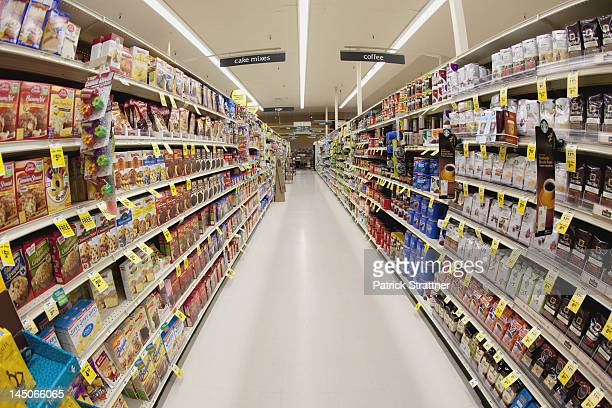 An aisle of a grocery store, diminishing perspective