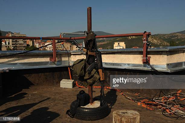 An AK47 is displayed at an observation point as German troops serving in the NATOled peacekeeping mission in Kosovo take positions as part of the...