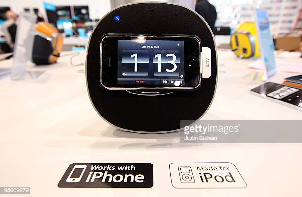 An alarm clock and speaker docking station designed for use with the iPhone is displayed in the iLuv booth at the 2010 International Consumer...