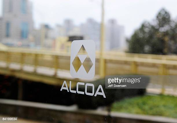 An Alcoa logo is seen on glass at the corporate headquarters January 7 2009 in Pittsburgh Pennsylvania Alcoa announced they would layoff 13 percent...