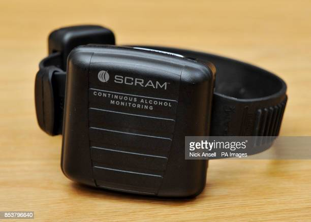 An alcohol monitoring tag supplied by Alcohol Monitoring Systems during the launch of the UK's first compulsory sobriety 'tag' programme for people...