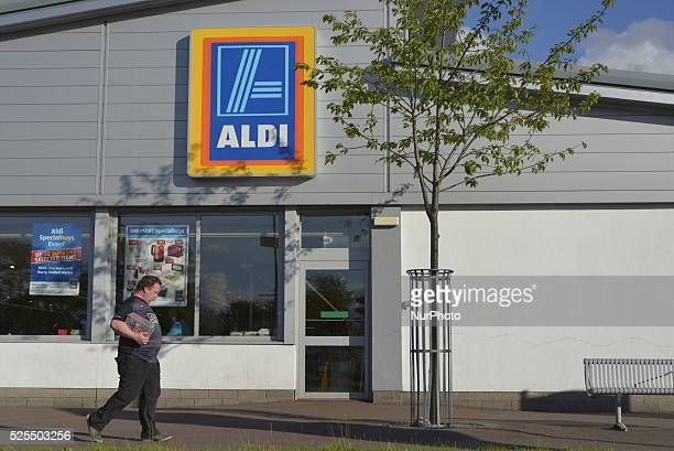 An Aldi lorry trailer displaying the companies corporate brand colours and phrase on Friday 29th May 2015 in Manchester UK Aldi is a leading global...