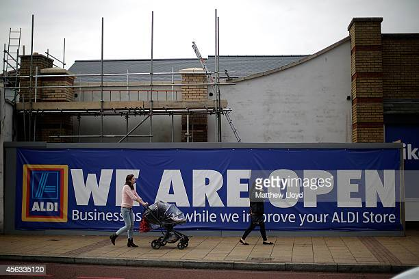 An Aldi supermarket currently undergoing improvements and building works in Catford on September 29 2014 in London England Aldi has reported a 65%...