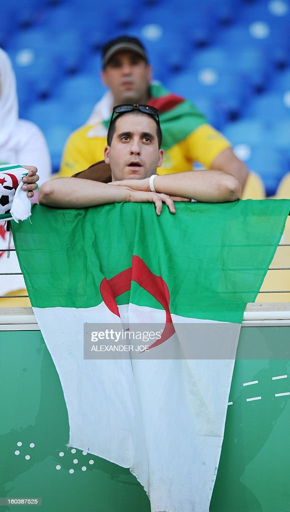 An Algeria supporter looks on prior to a Group D 2013 African Cup of Nations football match between Algeria and Ivory Coast, at the Royal Bafokeng Stadium in Rustenburg on January 30, 2013.