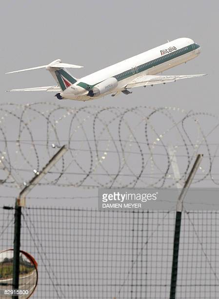 An Alitalia airplane takes off from Linate Airport close to Milan on September 19 2008 Italian airline Alitalia cancelled flights and regulators said...