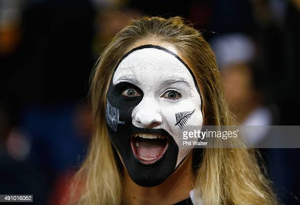 An All Blacks fan shows her colours during the 2015 Rugby World Cup Pool C match between New Zealand and Georgia at the Millennium Stadium on October...