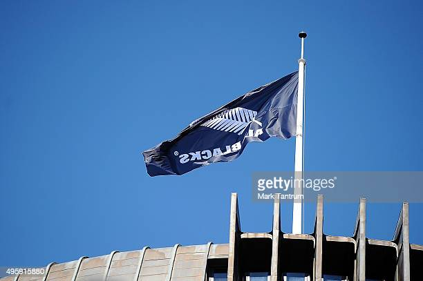 An All Blacks flag flying above the Beehive during the New Zealand All Blacks Welcome Home Celebrations on November 6 2015 in Wellington New Zealand