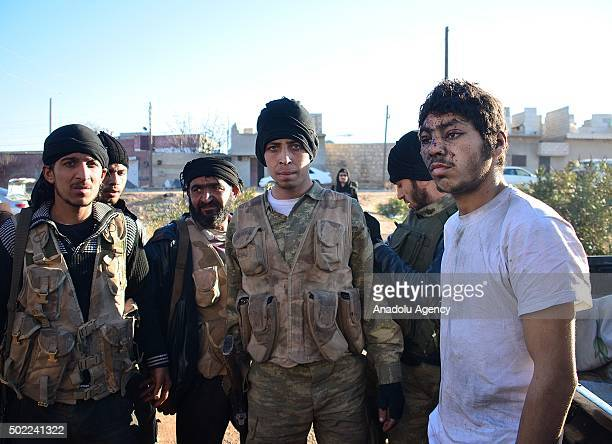An alleged Daesh member is held captive by the Syrian opponents during an operation which is conducted by Mutasim bridage and Sultan Murad Brigade...